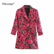 Vintage women purple floral trench with belt for ladies 2020 fashion notched collar long coats girls red boho windbreakers chic(China)