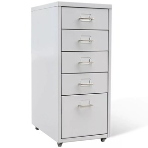 VidaXL Bedroom Living Room Drawer Filing Cabinet Detachable Mobile Steel File Cabinets 5 Drawers 4 Casters Office Cabinet