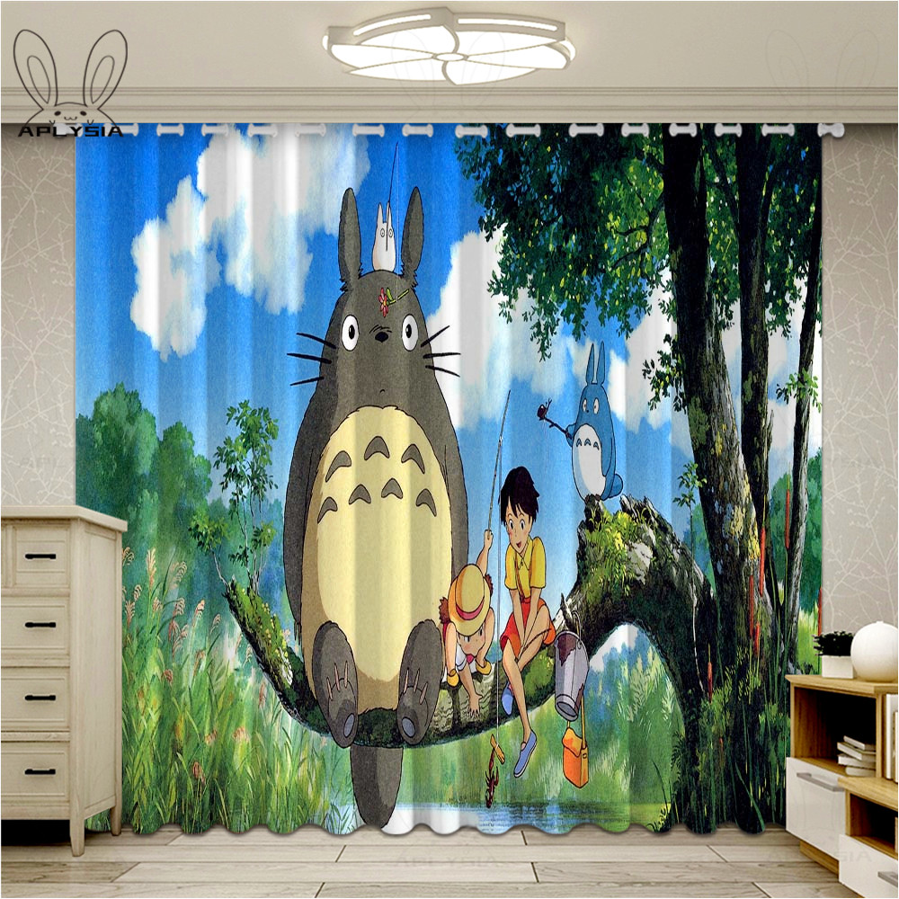 Cartoon Totoro Curtains For Kids Living Room Bedroom Darkening Anime Panel Window Treatment Drapes
