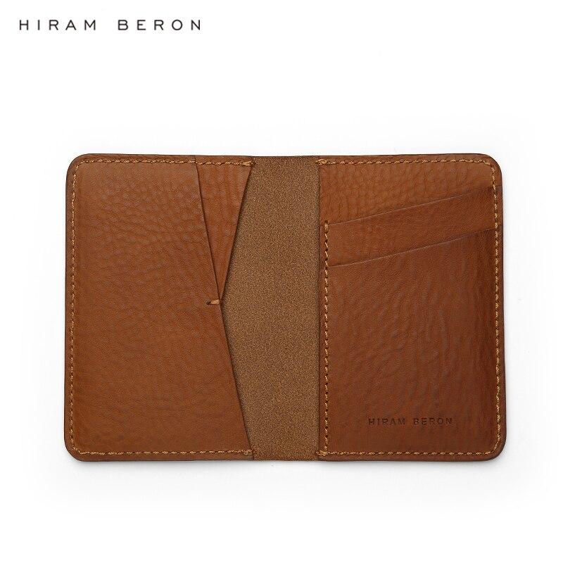 Hiram Beron nom personnalisé gratuit italien porte-cartes en cuir tanné végétal hommes épais étui en cuir livraison directe