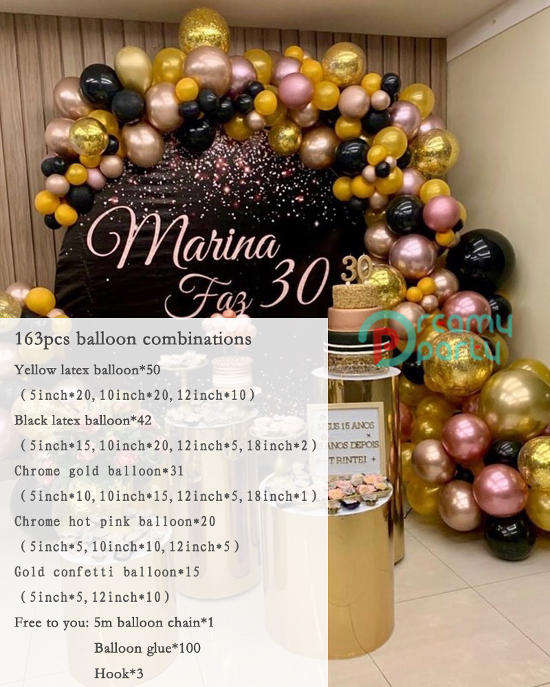 Rose Balloon Wedding Garland Confetti Supplies Baby Macaron Arch Balloons Shower Kit Yellow Gold Globos Black Party Decor Pastel