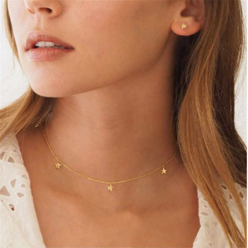 Fashion Women Choker Natural Alloy Gold Color Stars Pendant Necklace For Woman Jewelry Gift