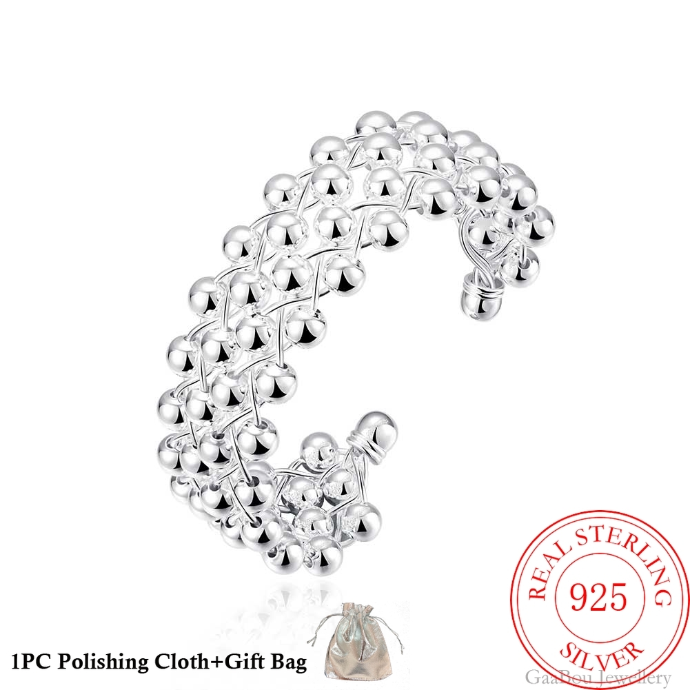 2020 High 925 Sterling Silver Bracelets Round Bead Adjustable Women Fashion Fine Jewelry Bangles With Charms