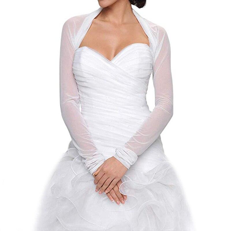 Bridal Ivory White Tulle Bolero Shrug Wedding Jacket Shawl Long Sleeves Wedding Accessories Elegant Bridal Wraps Shawls