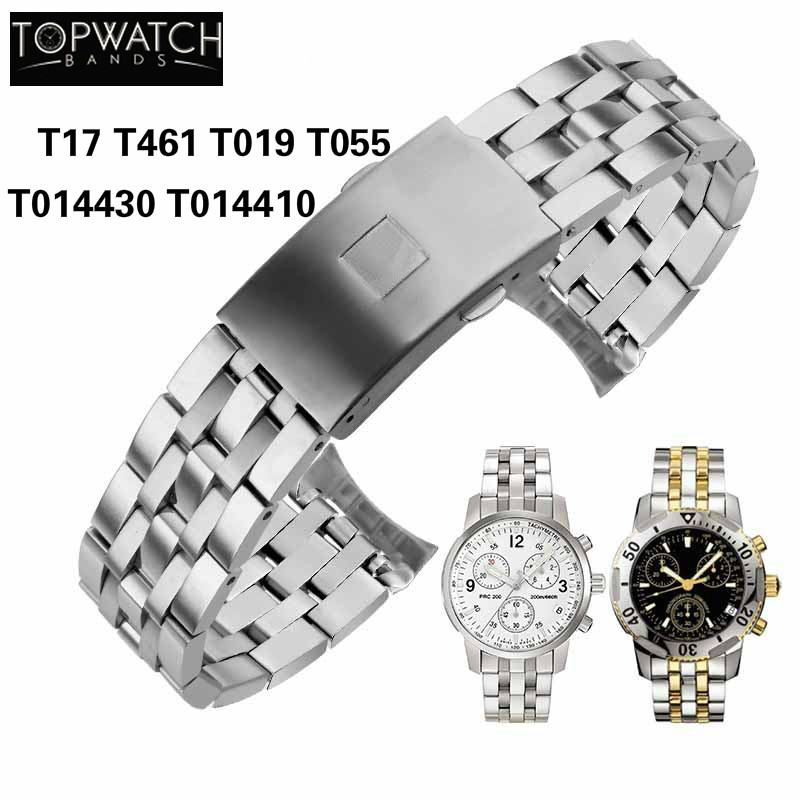 19mm 20mm Watch Strap for Tissot <font><b>PRC200</b></font> T17 T461 T014430 T014410 T019 T055 Watchband Watch Parts Stainless Steel Bracelets image
