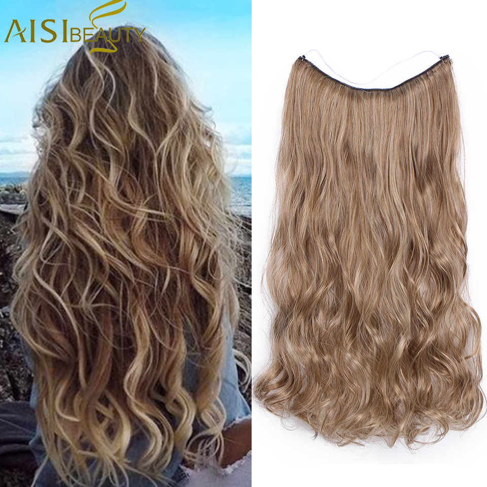 AISI BEAUTY   Wavy Hairpieces  No Clips In One Piece  Hair Extensions Synthetic Fish Line  Hair Extensions For Women