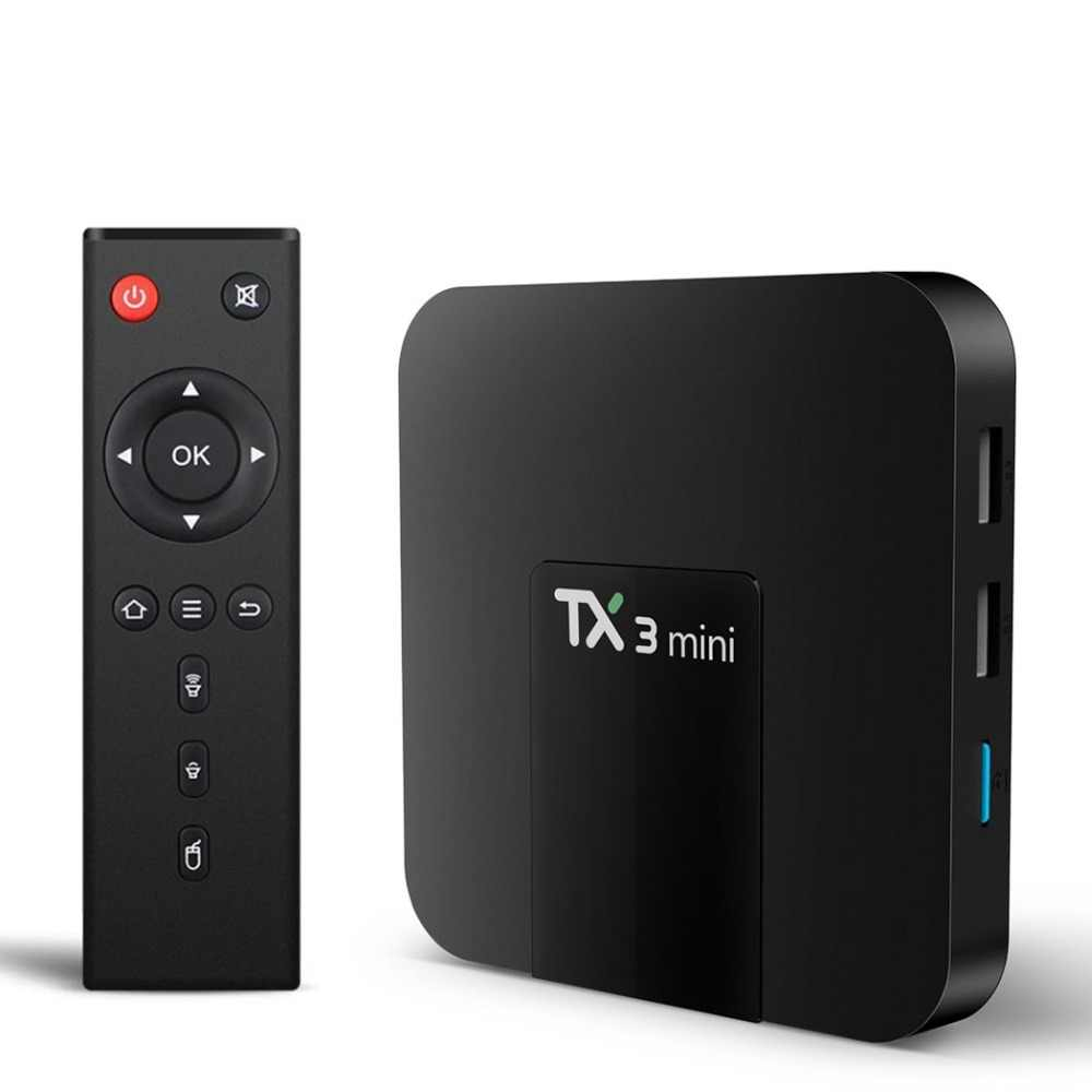 TX3 Mini Android 7.1 TV Box Smart TV H2.65 IPTV 4K Set-Top Box TVBOX odtwarzacz multimedialny IPTV procesor Amlogic S905W 1G 8G Tanix pudełko