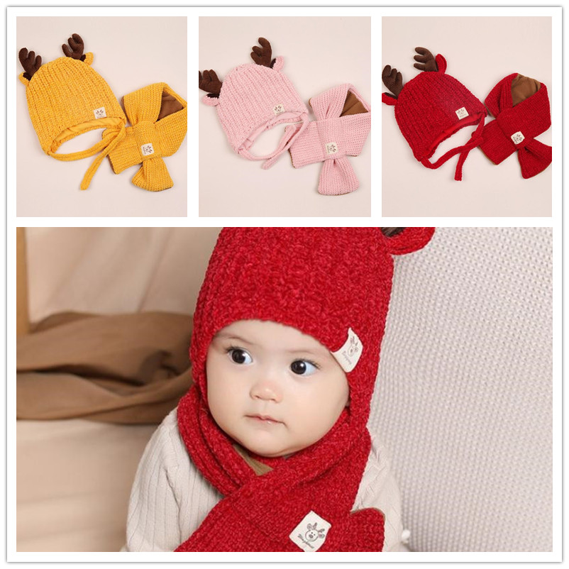 New Winter Hat And Scarf Winter Baby Hat For Children Warm Hat  For Girls Boys Kids Hat Scarf Set Accessories Christmas Gifts