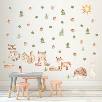Vacclo Ins bosque dibujo Animal conejo zorro DIY pegatina de pared Estilo nórdico bebé niños habitación Mural calcomanías guardería decoración para el hogar