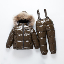 2019 NEW Russia Winter girls$Boys clothes coats down snow wear for Christmass gift boys childrens clothing sets shiny
