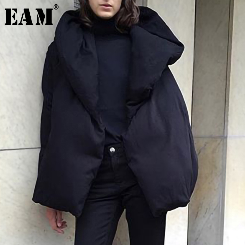 [EAM] Loose Fit Black Loose Big Size Down Jacket New Hooded Long Sleeve Warm Women   Parkas   Fashion Tide Autumn Winter 2019 LE8700