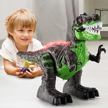 Dinossauros de controle remoto robô elétrico som luz brinquedo escavação jurássico animais t rex brinquedos educativos para crianças meninos