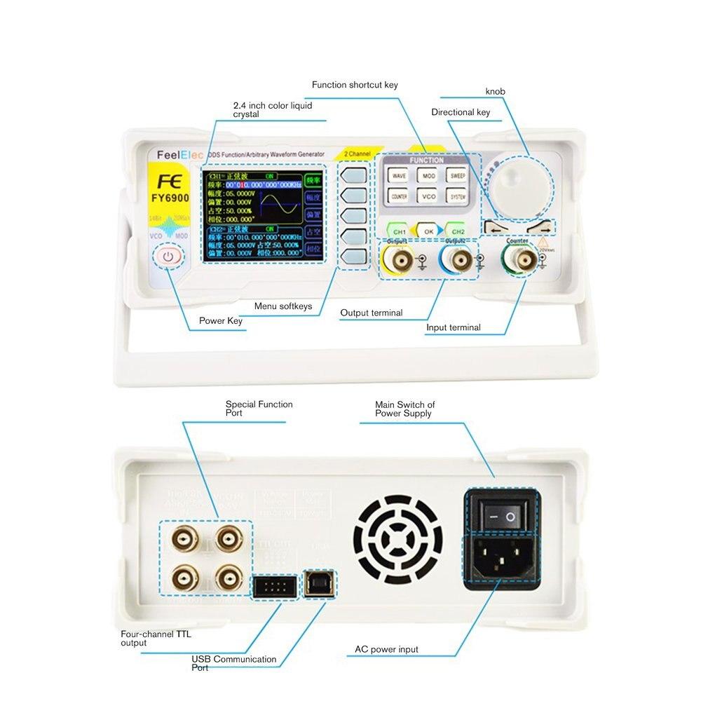 DDS двухканальный цифровой генератор сигналов произвольной формы 250MSa/s 40 МГц 14 битов Частотный метр горячая распродажа