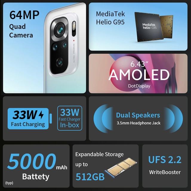 "Global Version Xiaomi Redmi Note 10S Smartphone 6.43"" AMOLED DotDisplay 64MP Quad Camera 5000mAh Helio G95 33W NO NFC 2"