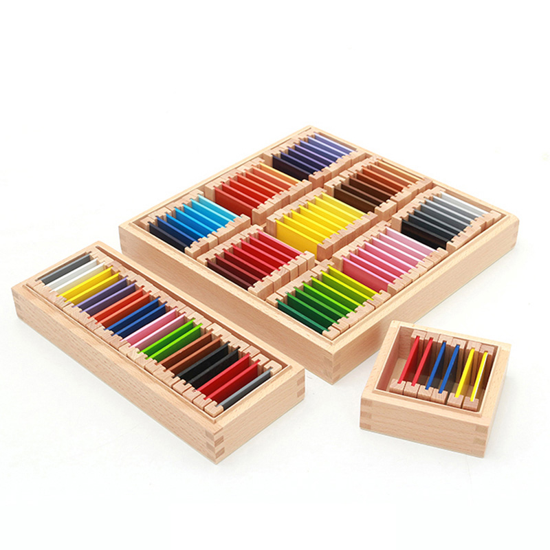 Montessori Sensorial Material Learning Color Tablet Box 1/2/3 Wood Preschool Training Kids Puzzle Educational Toys For Children