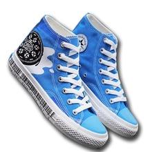 Men Blue Canvas Shoes Hand Painted Doggie Buscuit Milk Vamp
