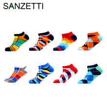 SANZETTI 8 Pairs/Lot Mens 2019 Summer Novelty Casual Ankle Socks Colorful Combed Cotton Hip Hop Gift Dress Boat