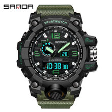 SANDA Fashion Outdoor Sport Watch Men Electronic Watch Casual LED Wrist Watches 3Bar Waterproof Digital Watch relogio digital cheap Plastic 25cm Buckle ROUND 22mm 16mm Back Light Shock Resistant LED display luminous Auto Date Complete Calendar Water Resistant