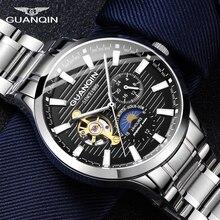 GUANQIN, деловые часы, мужские автоматические светящиеся часы, мужские турбийон, водонепроницаемые механические часы, Лидирующий бренд, relogio masculino
