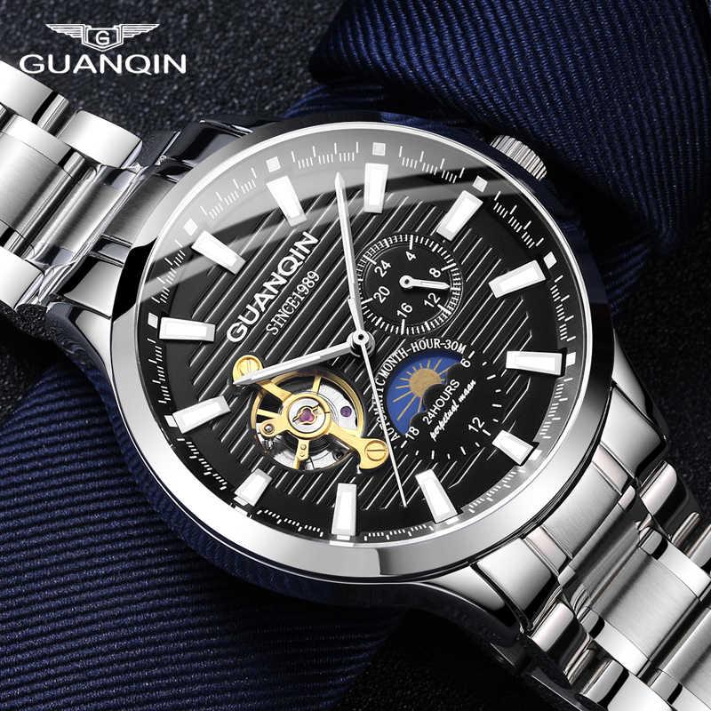 GUANQIN 2020, деловые часы, мужские автоматические светящиеся часы, мужские турбийон, водонепроницаемые механические часы, Лидирующий бренд, relogio masculino