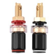 2 pçs preto & vermelho livre solda cobre alto falante terminal amplificador para 4mm banana plug cobre chumbo livre solda ferro dicas bga ferramentas