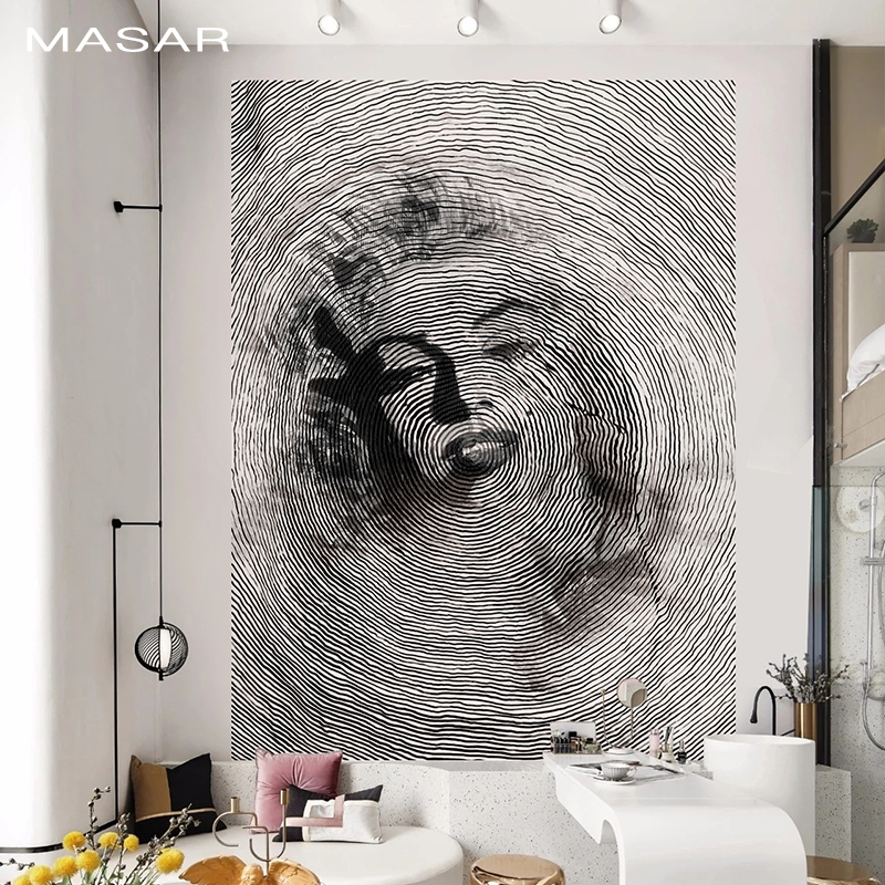 MASAR   Abstract Art Murals Black And White Sofa Bed Background Wall Wallpaper Environmental Protection Waterproof Time