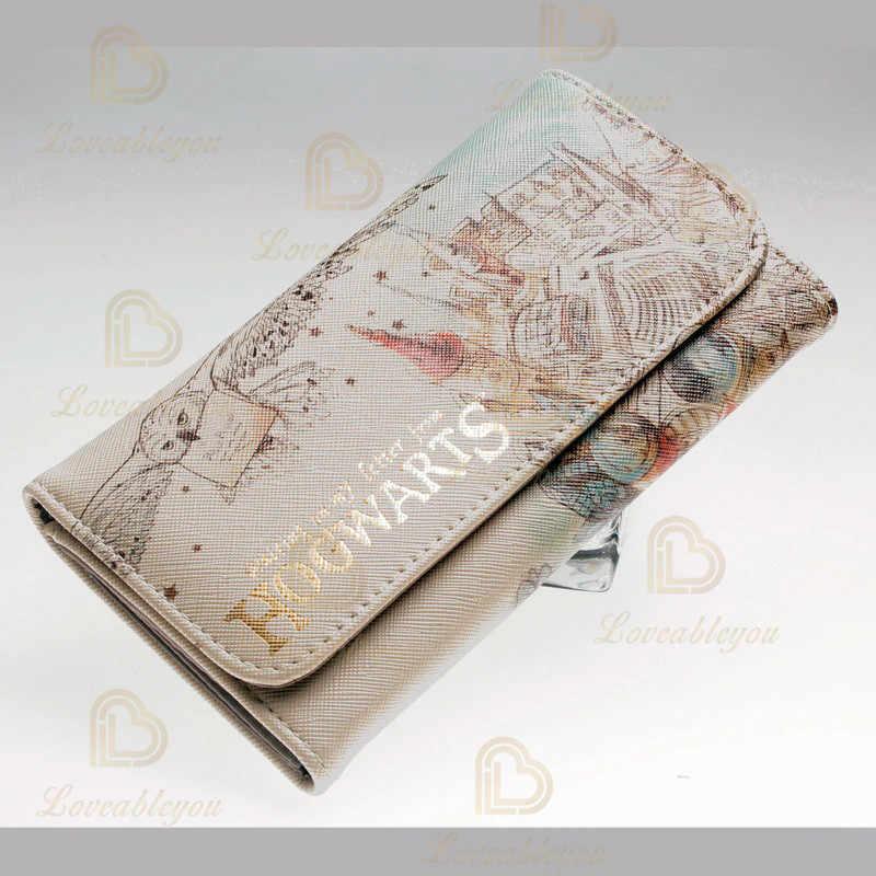 Suluboya cüzdan kadın cüzdanlar moda bozuk para cüzdanı kart tutucu cüzdan kadın Cosplay Hogwarts debriyaj para çantası PU deri cüzdan