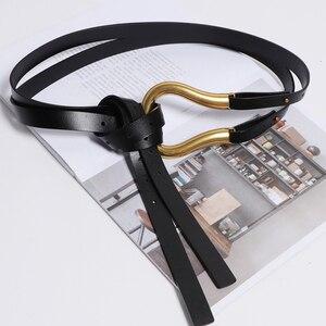 Image 3 - [Bxx] 2020 Designer Riemen Vrouwen Hoge Kwaliteit Lederen Riem Voor Jurk Luxe Merk Mode Taille Femme Stijl Taille riem HJ717