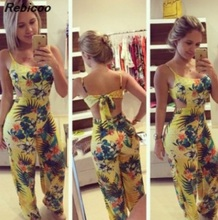 Hot sale 2016 womens Jumpsuits yellow printed casual spaghetti strap loose long length flower pattern