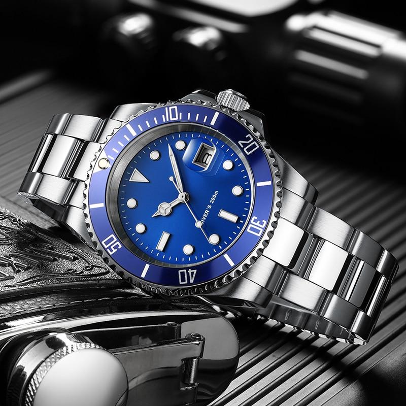 Addies relógio de mergulho 200m 2115 relógios de quartzo men c3 calendário super luminoso relógio de mergulho moda aço inoxidável relógios masculinos - 1