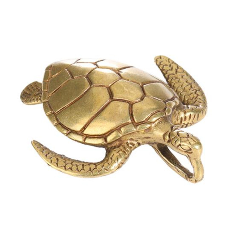Brass Sea Turtle Casting Animal Figurine Retro Style Metal Sculpture Home Office Room Desktop Decoration Collect Ornaments Gift