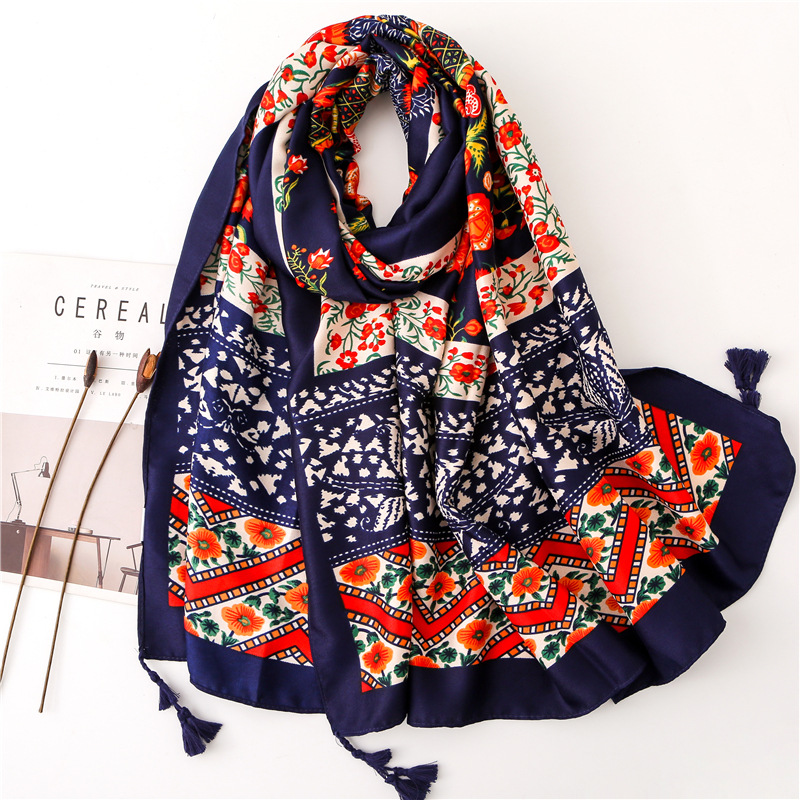 2020 Ethnic Style Colour Print Cotton And Linen Shawl Autumn Tassels Silk Scarves Women Autumn New Style Sunscreen Beach Towel