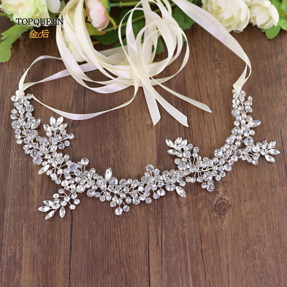 TOPQUEEN SH259 high quality rhinestone bridal belt  new design bridal belt luxury sliver rhinestone belt for evening dress belt