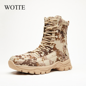 Outdoor Desert Military Camo Breathable Hiking Shoe Spring Autumn Men Hunting Climbing Leather Wearproof Tactical Training Boots 1