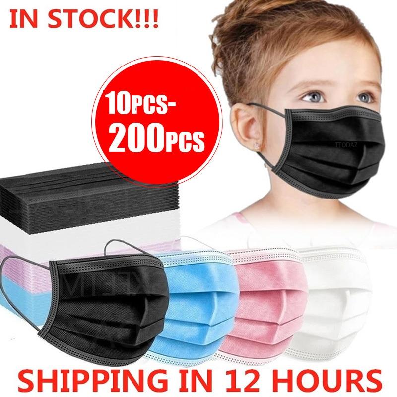 10-200 шт. детская маска одноразовая маска для лица, Китай ткали 3 Слои фильтр маска для губ маска для лица из дышащего материала Earloops маски для ...