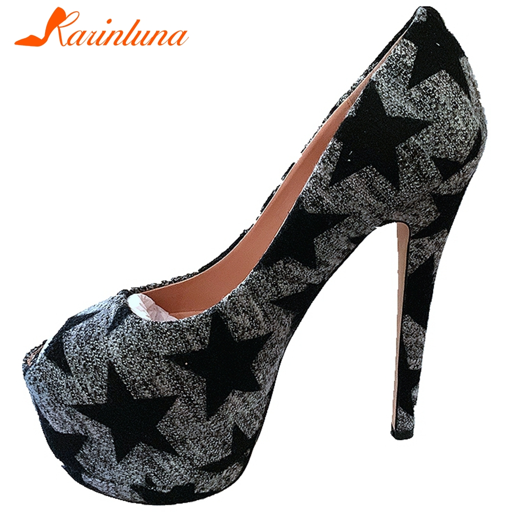 Karinluna New Arrivals Large Size 43 Sexy Thin High Heels Party Pumps Woman Shoes Peep Toe Slip-On Platform Shoes Women Pumps