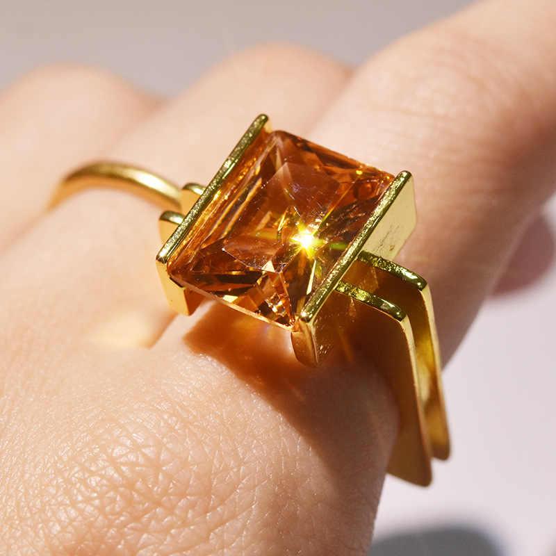 Tem Vàng 14K Vuông Nhẫn Cho Nữ Topaz Vàng Ametrine Bizuteria Đá Quý Anillos Trang Sức Kim Cương Vuông Công Chúa Hộp Nhẫn