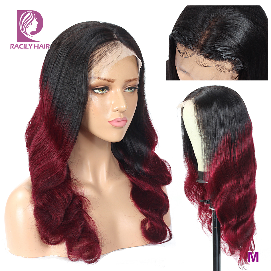Racily Hair Burgundy Lace Front Wig 13x4 Ombre Human Hair Wig For Women 99J Remy Brazilian Body Wave Transparent Lace Wigs 150%