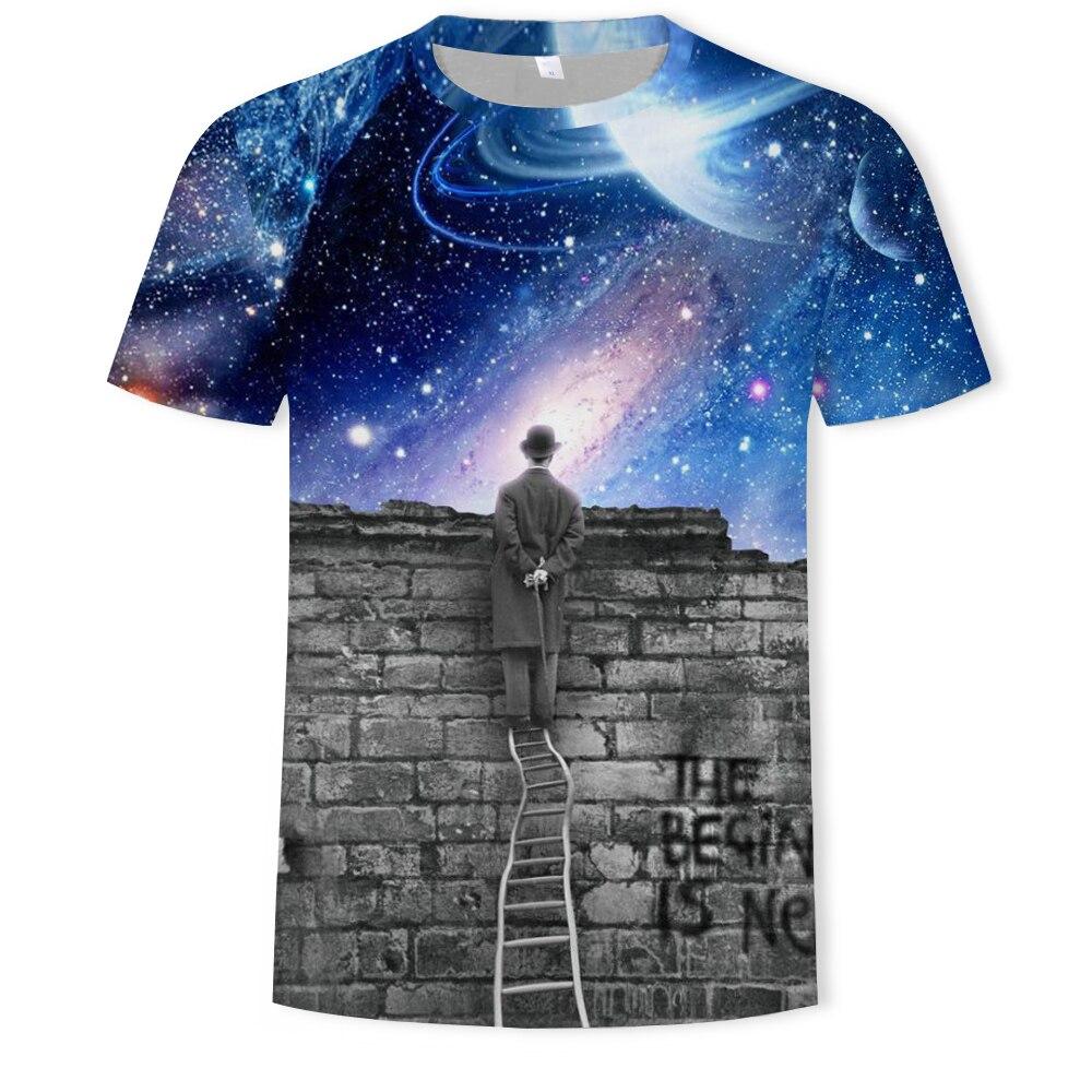Streetwear nova camiseta de manga curta masculina verão casual universo estrelado fantasia 3D camisa moda gola O impressão 3D