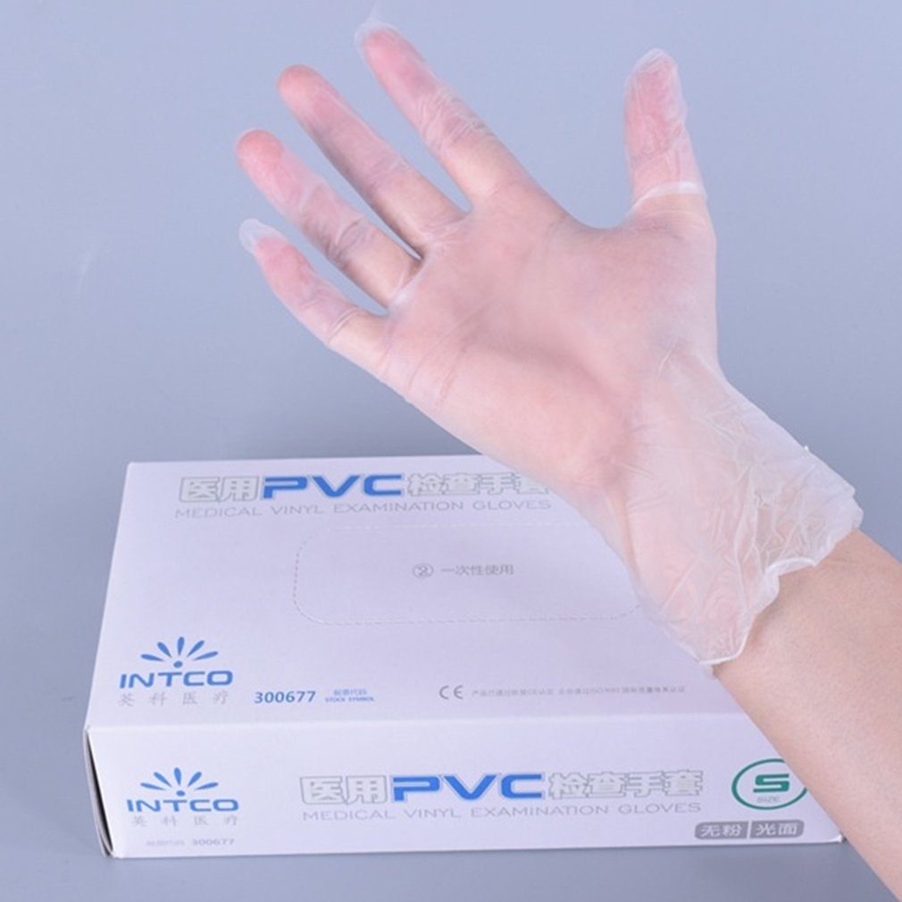 Vinyl Gloves 100 / Box Disposable Powder-free Industrial Food Safety 3mm Translucent Pvc Gloves Nitrile Glove 2020