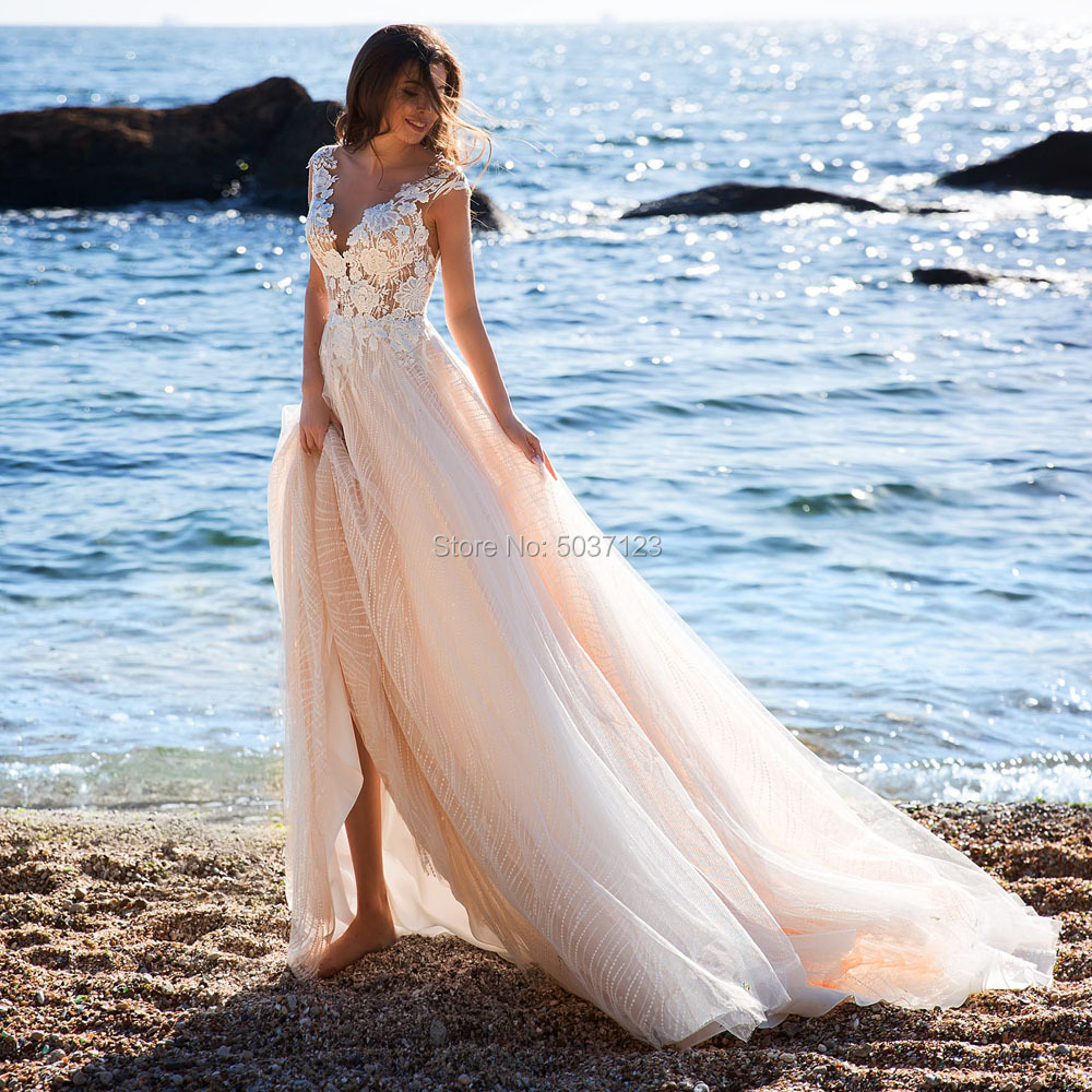 Beach A Line Tulle Wedding Dresses V Neck Appliques Lace Cap Sleeves Wedding Bridal Gowns Custom Made 2019 Vestido De Noiva