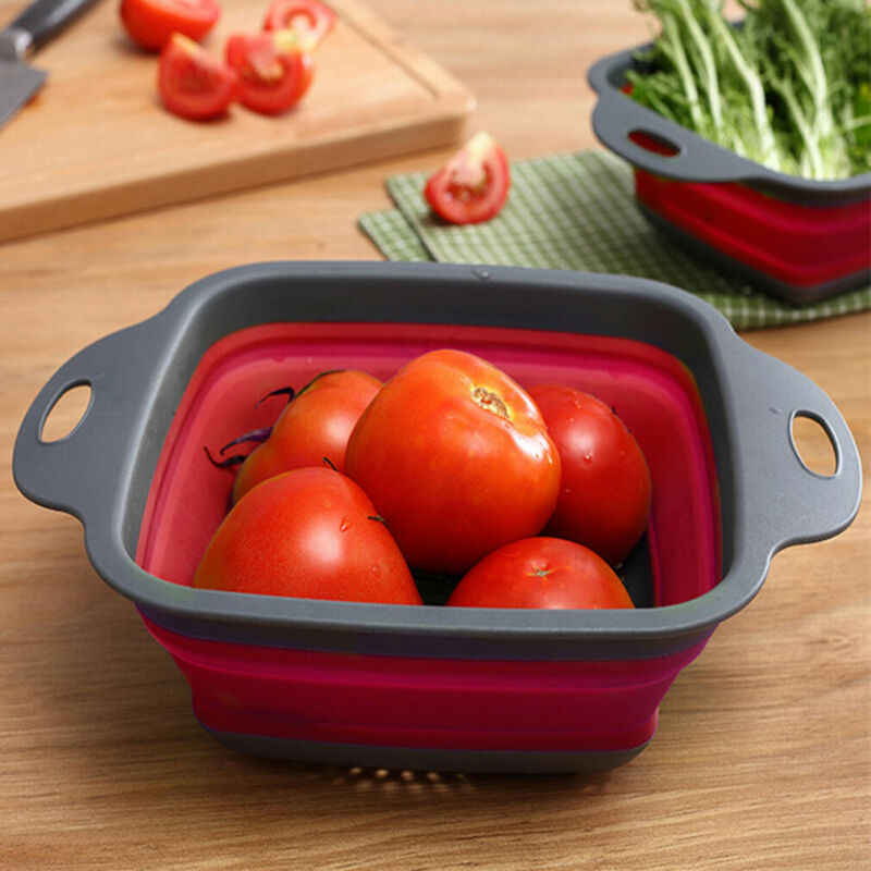 Gadgets เครื่องครัวครัวพับซิลิโคนผลไม้ผักผลไม้กรองตะกร้า