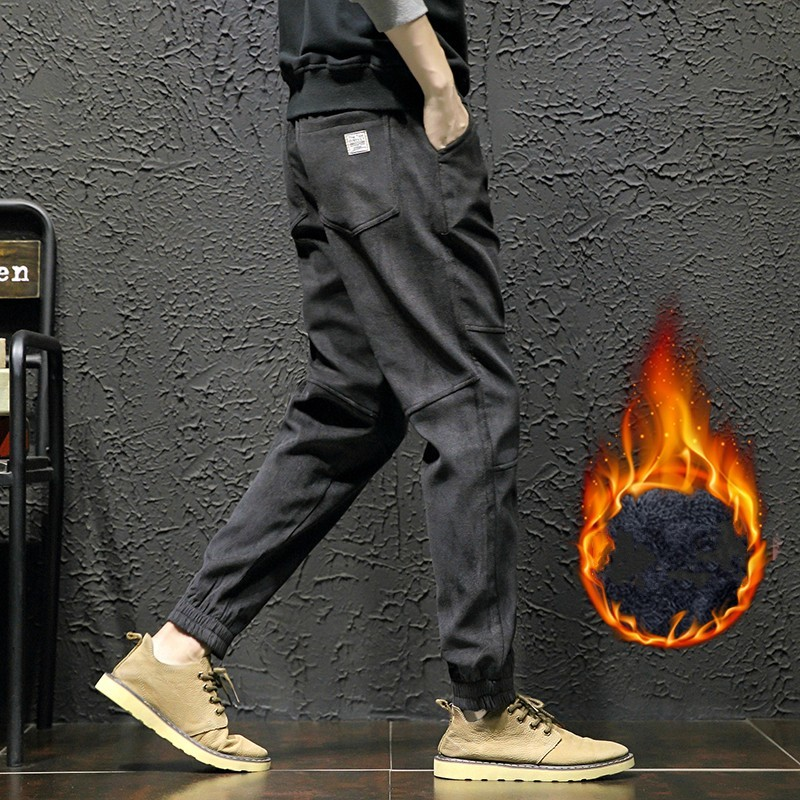 Autumn Winter Thick Warm Drawstring Harem Trousers Men Plus Size 5XL Loose Fit Hip Hop Pants Casual Cotton Pantalon Hombre Black
