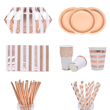 Party Rose Gold Striped Disposable Tableware Baby Shower Plates Straw Napkins Wedding Birthday Party Decoration Supplies pink unicorn disposable tableware plates napkins cups banner birthday party baby shower wedding events decor supplies