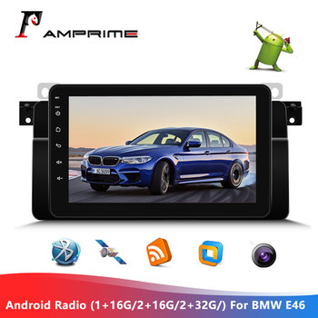 AMPrime Android 8.1 Car Stereo Radio 8 Capacitive Touch Control GPS/WiFi/FM Bluetooth with Steering Wheel Control For BMW E46 image