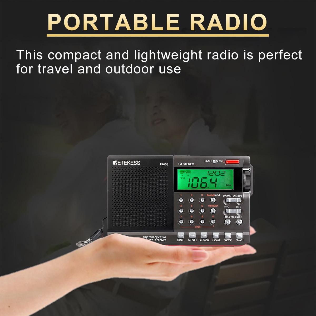 alarm clock Retekess TR608 FM / MW/ SW / Air Multi Band Radio Portable Digital Radio Speaker with LCD Display with Clock Alarm Sleep timer (5)