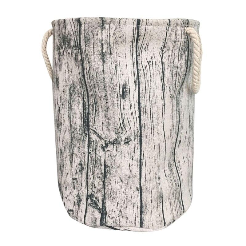 Stylish Tree Stump Shape Design Storage Basket Cotton Fabric Washable Cylindric Laundry Hamper With Rope Handles Decorative