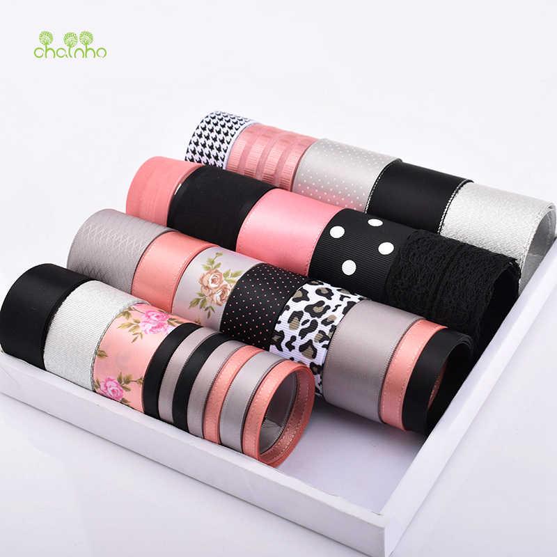 Wysokiej jakości, mieszane czarne i różowe kolory zestaw wstążek do majsterkowania ręcznie robione prezenty i rękodzieło pakowanie, ozdoba do włosów akcesoria, HB131