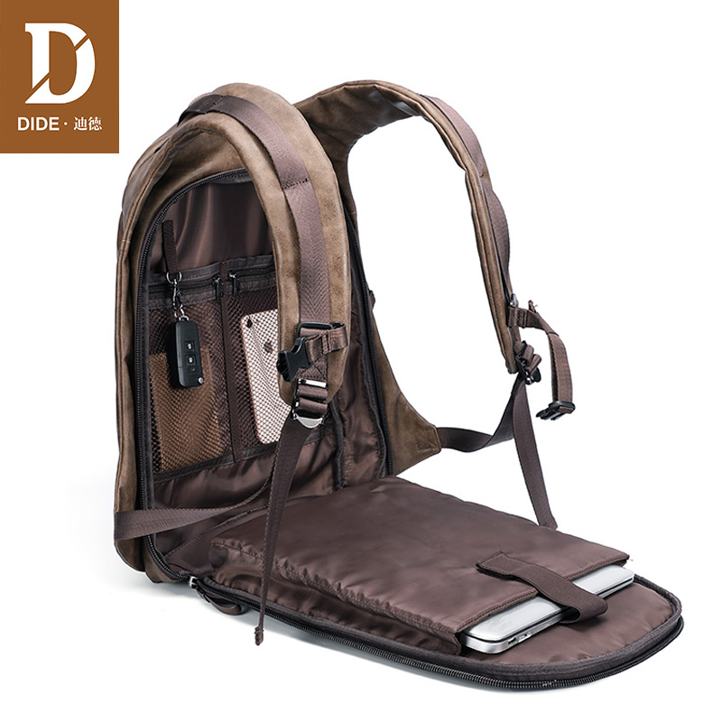 DIDE Brand USB Charge Backpack Men Travel Laptop Backpack 14/15 Inch PU Leather School Bag For Teenagers Male Small/Large