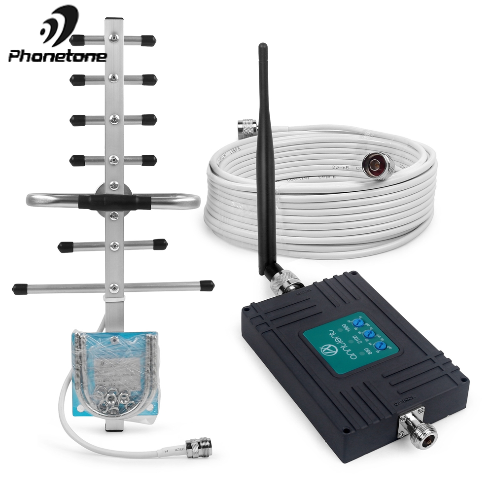 Mobile Signal Booster Band 5/3/1 2G 3G 4G Cellular Repeater GSM LTE 850/1800/2100 MHz 70dB 850 WCDMA Mobile Amplifier For Voice